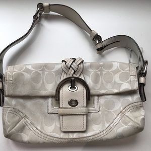 Coach white canvas and leather baguette bag